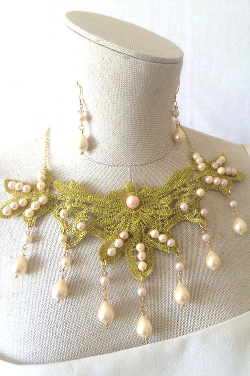 Golden Lace & Cream Pearl Necklace/Earrings Set