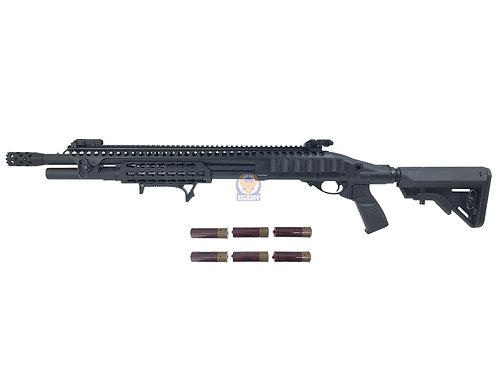 Golden Eagle 8875 K M870 KeyMod Long Gas 3/6 Shot Pump Action Shotgun (BK)