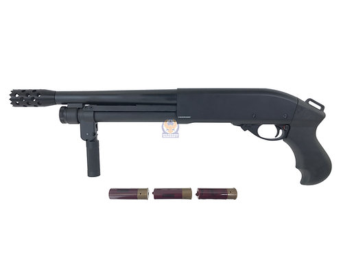 Golden Eagle 8876 M870 Super Shorty Gas 3/6 Shot Pump Action Shotgun (BK)