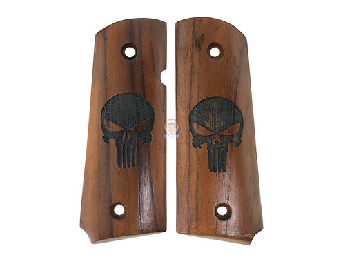 Kimpoi Hand Carved Wood Grip For WE/AW M1911 V10 Ultra Compact Pistol (Skull)