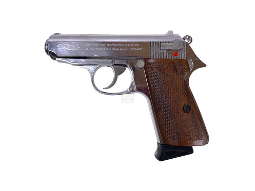 FCW PPK/S Full Metal GBB Pistol Silver with Nazx Style Wood Grip