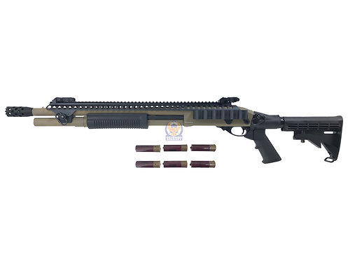 Golden Eagle 8874 M870 Tactical RAS Gas 3/6 Shot Pump Action Shotgun (DE)