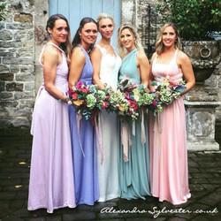 Bride and pastel bridesmaids