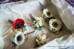 Poppies and anemones buttonholes