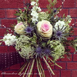 Cabbage rose and thistle bouquet