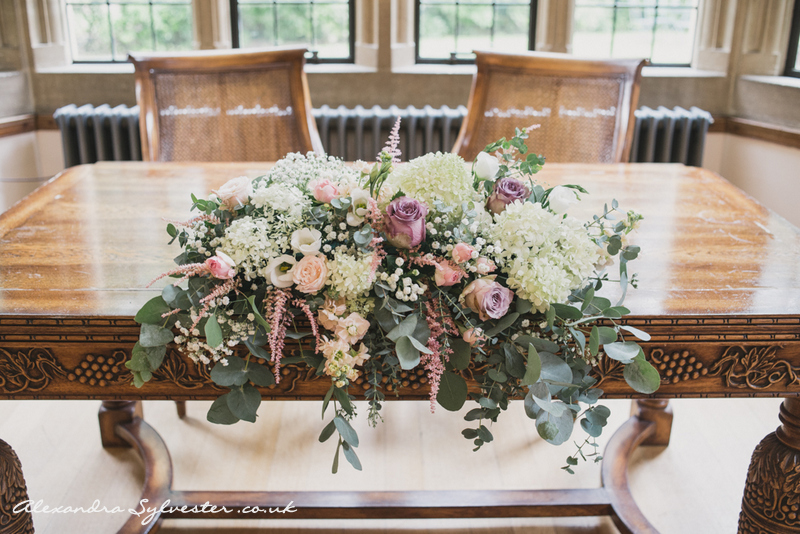 Registrar table flowers @ Coombe Lodge