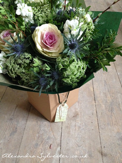 Gift bouquet with cabbage roses