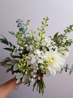 Green white dahlia bouquet