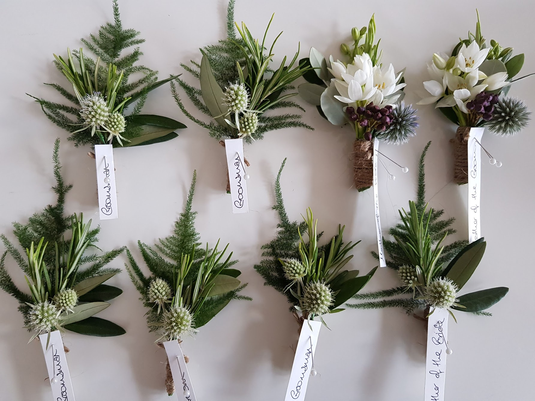 Green thistle buttonholes