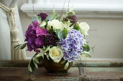 Hydrangea and rose arrangement