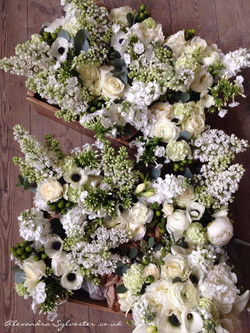 Anemones and lilac wedding flowers