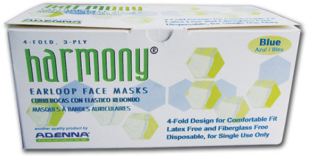 Harmony Face Mask, Earloop, 3-ply/4-fold, Blue - Level 1 (50 Masks/Box)
