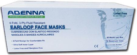 Adenna 3-ply/4-fold Face Masks Blue - Level 2 (50 Masks/Box)