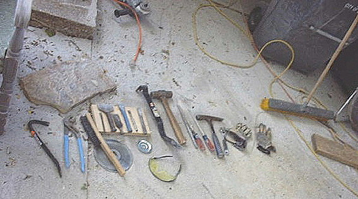 Some tools for working stone...