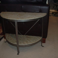 Steel & Stone • rounded end table