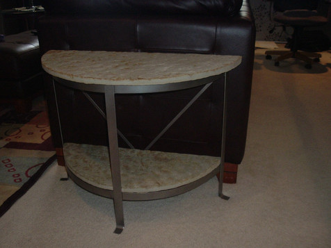 rounded stone table