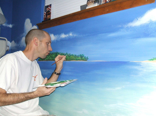 painting the island for Dr Dalton
