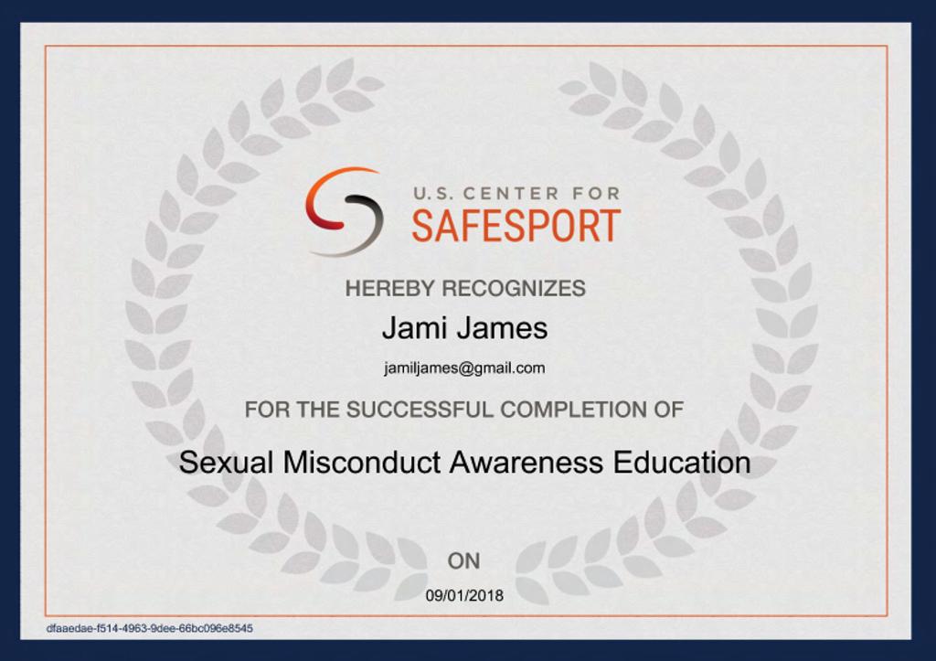 SafeSport Cert 1