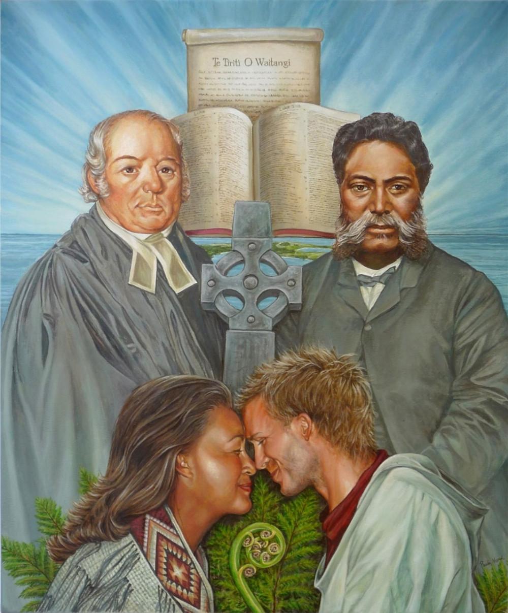 Bible & Treaty painting by Paula Novak