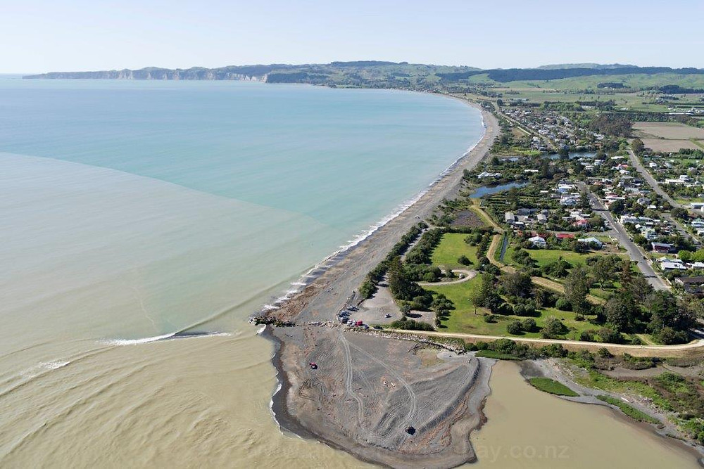 Cape Coast aerial view from Tukituki mouth south to Cape Kidnappers
