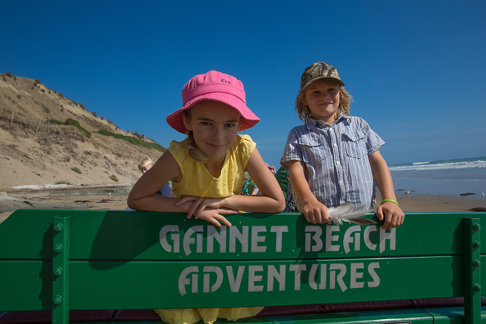 Two happy visitors enjoying their day with Gannet Beach Adventures