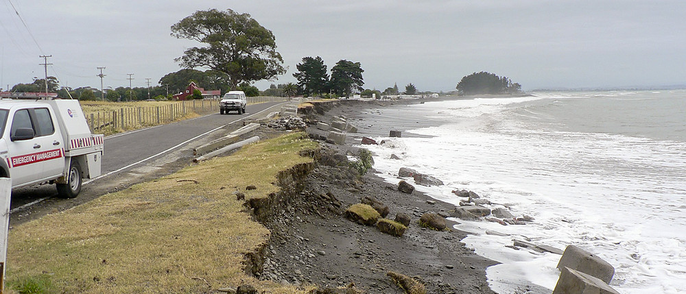 Clifton Camp access road damaged by heavy sea due to a seasonal storm