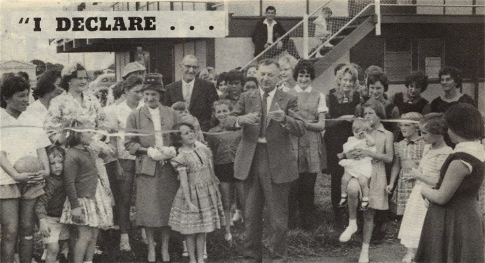 Grand opening of the new Haumoana, Cape Coast, Hawke's Bay, Basketball court in July 1961