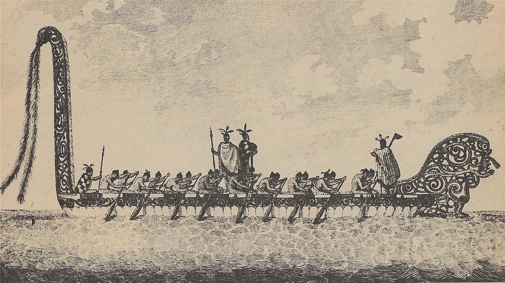 Parkinson's drawing Maori canoe