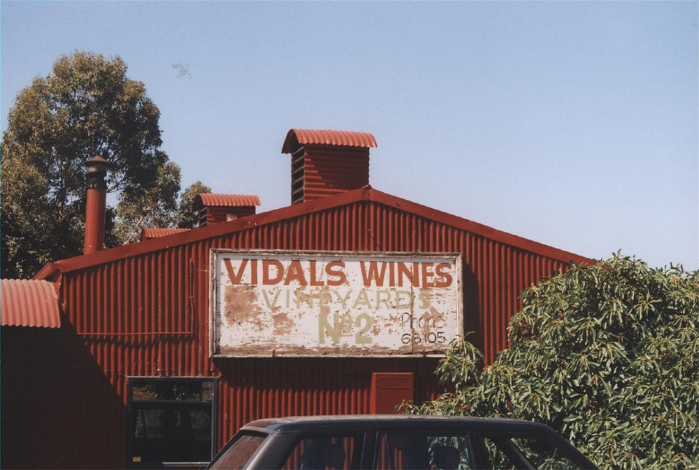 "The original Vidals Wines signboard now displayed on the Clearview ""Red Shed"""