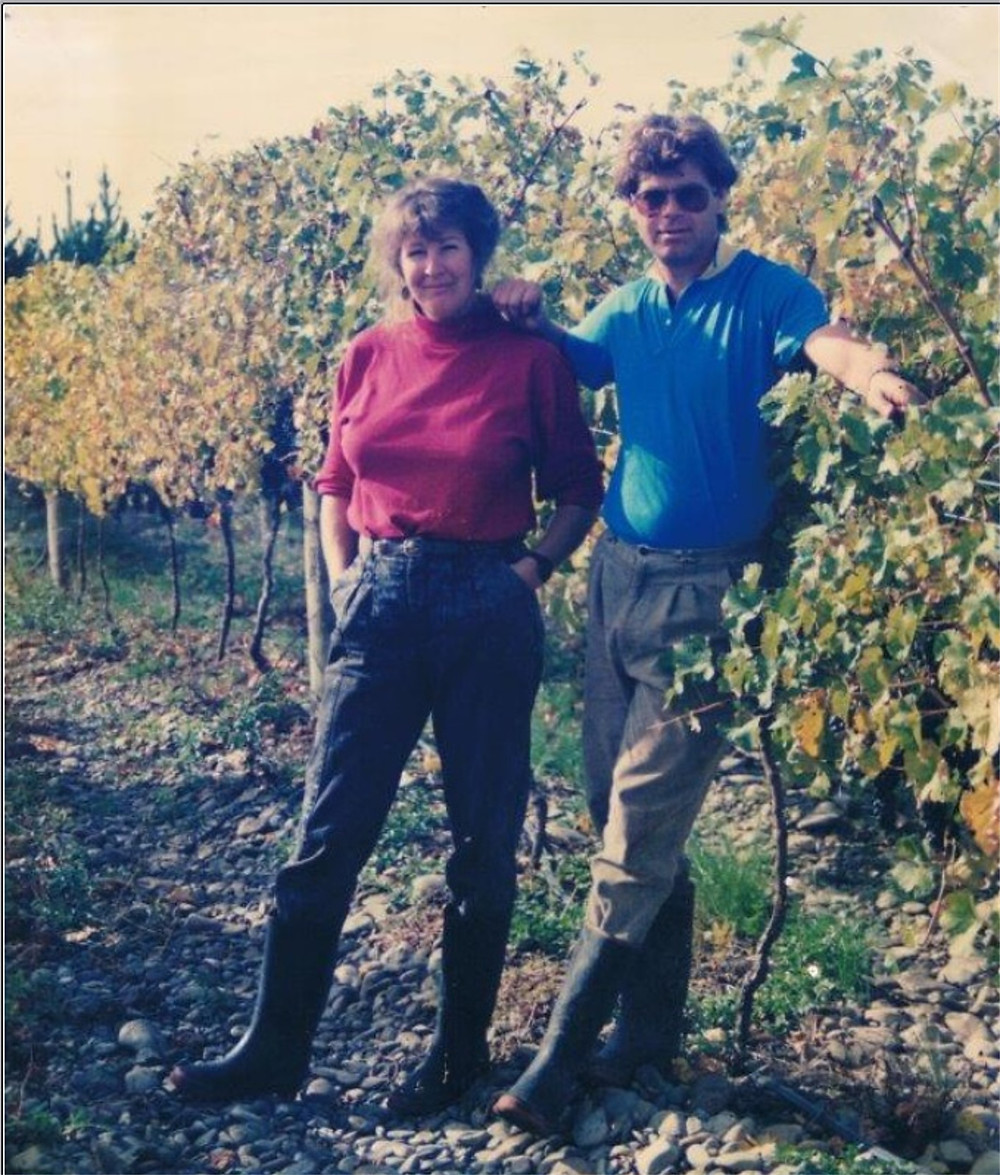 Helma & Tim amongst the Clearview vines, 1990