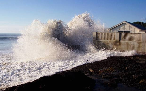 Cape View Corner, Haumoana, under threat from waves