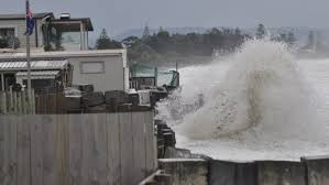 The day after ex-tropical Cyclone Pam passed by Hawke's Bay, areas in the Hawke's Bay like Haumoana