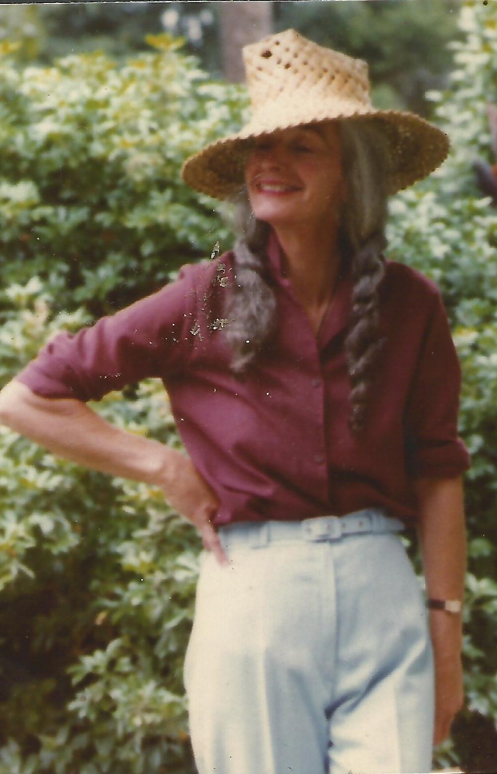 Joan Scott outside in the garden