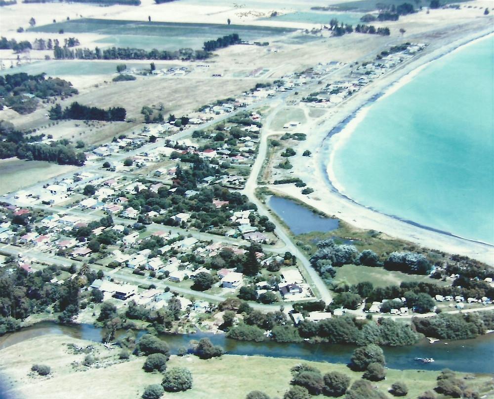 """Aerial view of the Te Awanga """"Triangle"""""""
