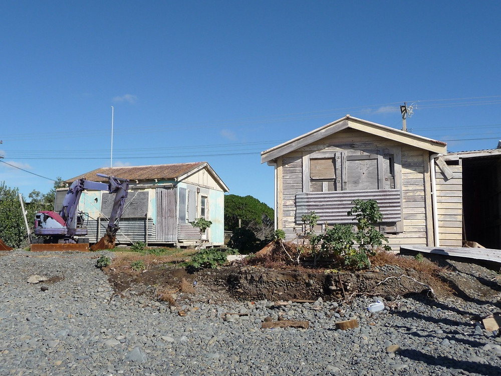 Two baches for demolition at Cape View Corner, Haumoana