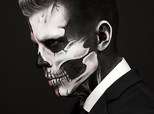 min Halloween skull skeleton male makeup