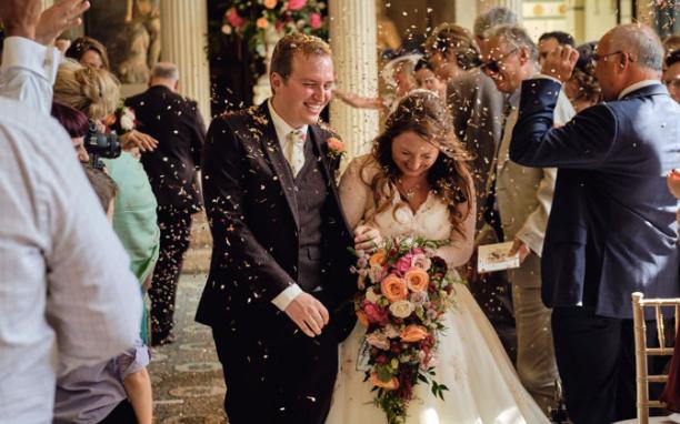wedding flowers and bridesmaids dresses