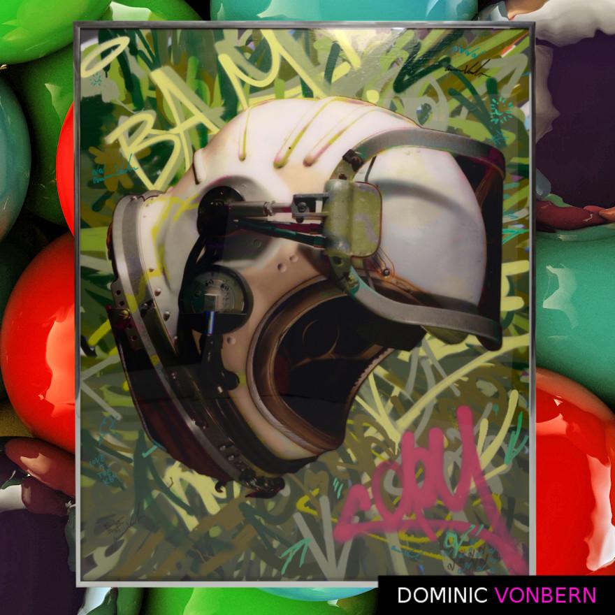 Dominic Vonbern-Swiss Artist-Russian Space Helmet-Viktor Belenko- Street Art- Russian Space Helmet 2