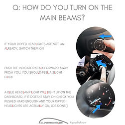how to turn on main beams in a car sp driving school perth