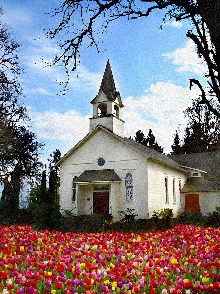 WATERCOLOR_church w tulips.jpg