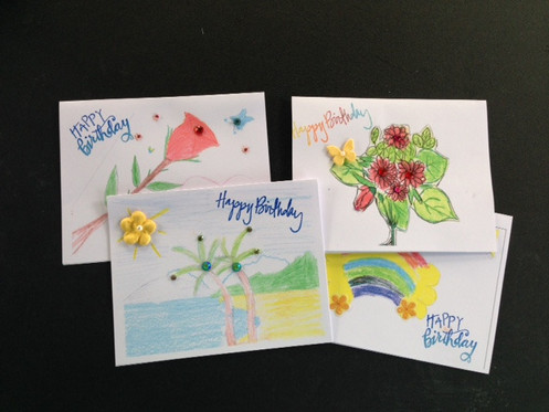 4 Birthday Cards Designed By Girls At Rainbow Childrens Home