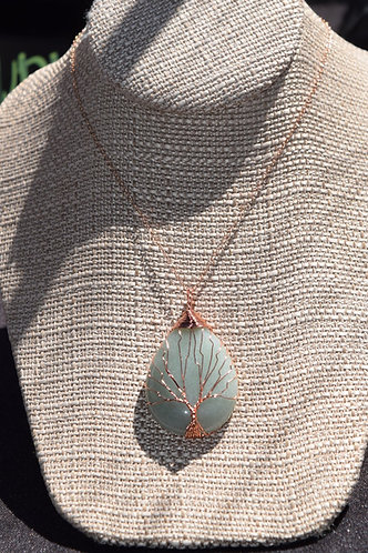 Adventurine Tree of Life on Rose Gold Chain
