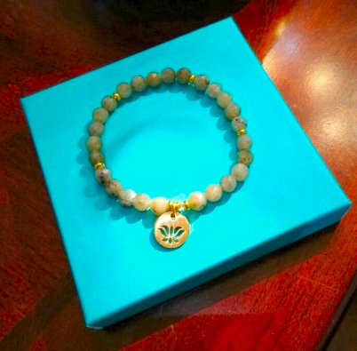 Labradorite and Lotus Leaf Charm Bracelet