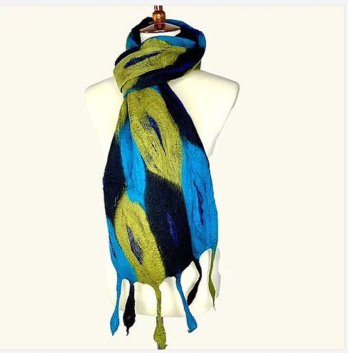 Beautiful Blues & Green Feather Scarf