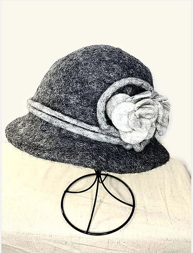Charcoal Hat with Light Gray Flower