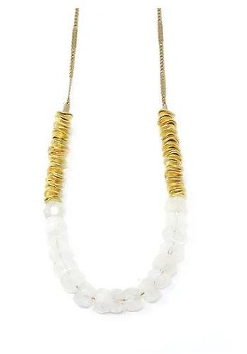Moonstone & Hammered Brass Chain