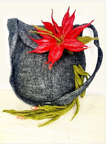 Oversize Felted Purse with Three Flowers