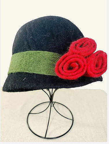 Felted Black Hat with Red Flowers