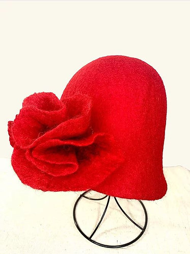 Felted Red Hat with Red Flower