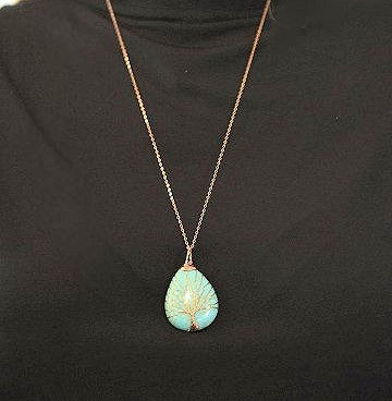 Turquoise Copper Wire Wrapped on Rose Gold Chain